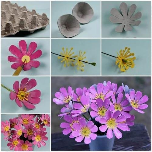 Des fleurs faites avec des cartons de boites dopeufs