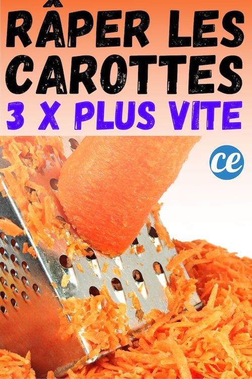 Il trucco genius per grattare le carote 3 volte più velocemente.'Astuce de Génie Pour Râper les Carottes 3 Fois Plus Vite.