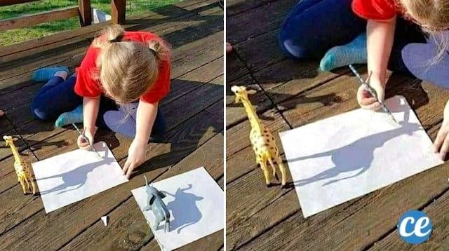 Une enfant qui reproduit une figurine sur une feuille de papier grâce à l'ombre du soleil