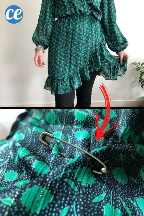 robe verte qui colle aux jambes et épingle à linge