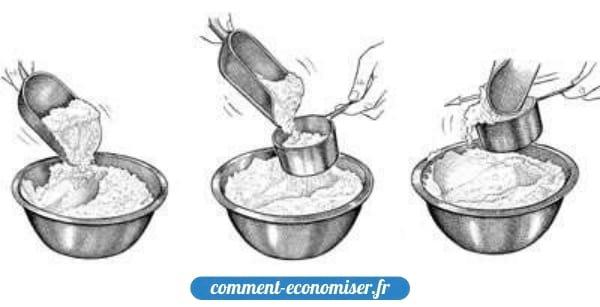 Mélanger, saupoudrer et niveler : la bonne méthode pour mesurer la farine.