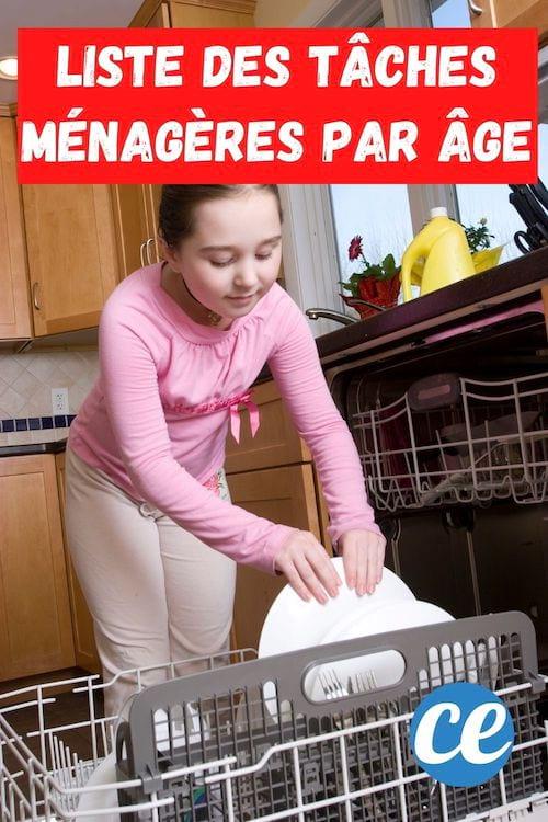 Une petite fille met de la vaisselle dans le lave-vaisselle