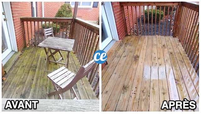 une terrasse en bois très sale avant et propre après grâce au nettoyage au savon noir