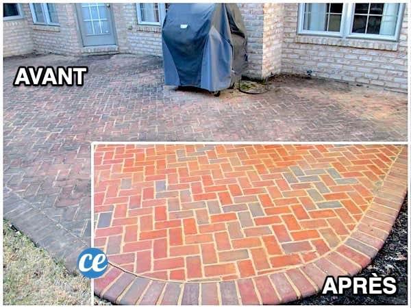 1 terrasse en brique toute sale avant et toute propre après un nettoyage naturel