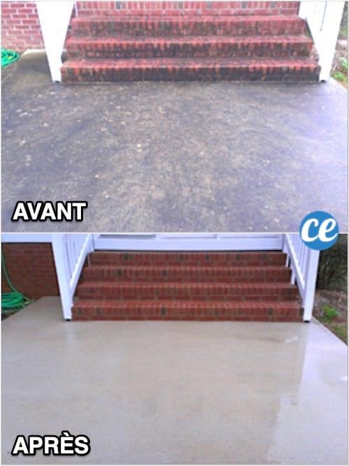 Une terrasse sale en béton avant et propre après grâce au cristaux de soude