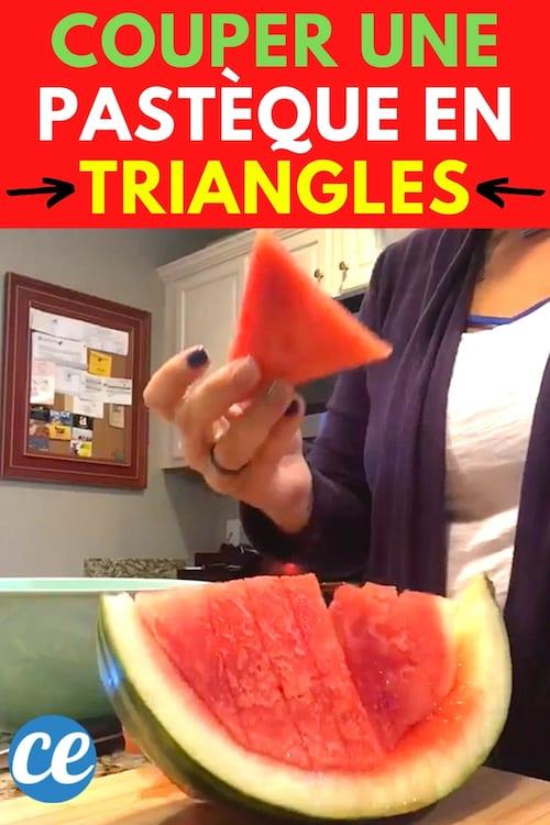 Une pastèque coupée en triangles facilement avec un fil dentaire