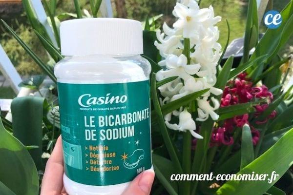 Du bicarbonate de soude devant un jardin en fleur.