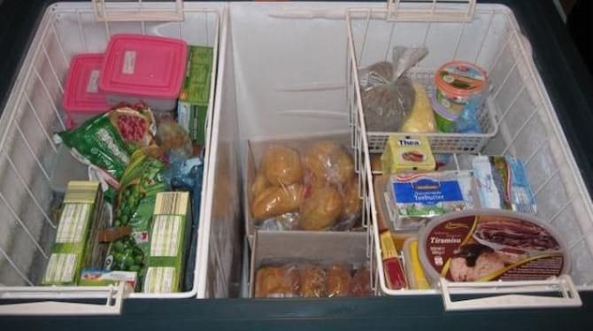 Des aliments dans des bacs dans un congélateur