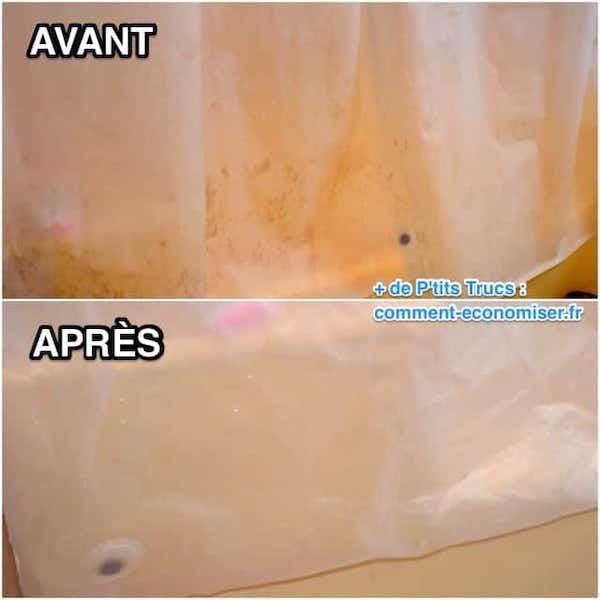 Un rideau de douche sale et propre après grâce à un lavage au bicarbonate