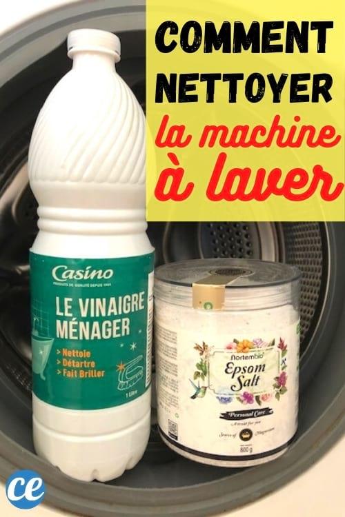 bouteille de vinaigre blanc et sel d'Epsom dans la machine à laver