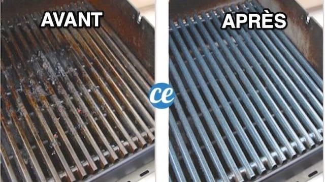 Une grille de BBQ sale à gauche et propre à droite grâce au bicarbonate