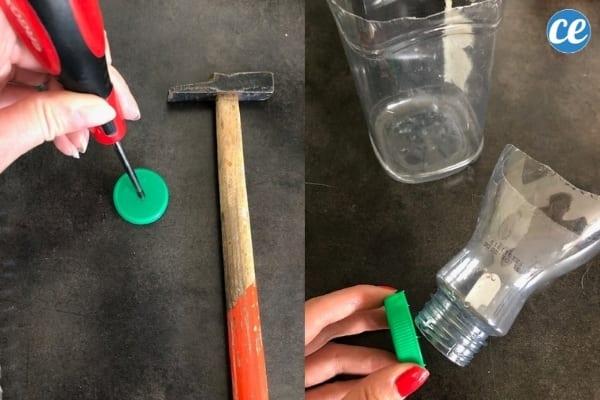 bouchon plastique marteau et tournevis