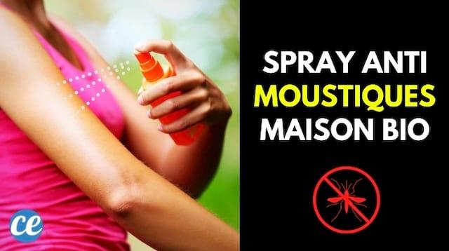 Un spray anti moustique bio pulvérisé sur le bras d'une femme pour se protéger des moustiques