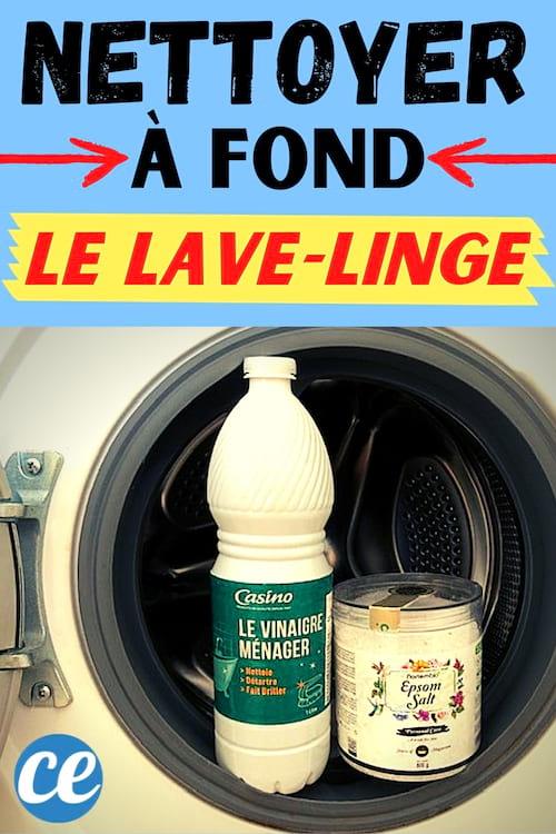Une machine à laver avec du vinaigre blanc et du sel d'epsom sur le hublot pour la nettoyer