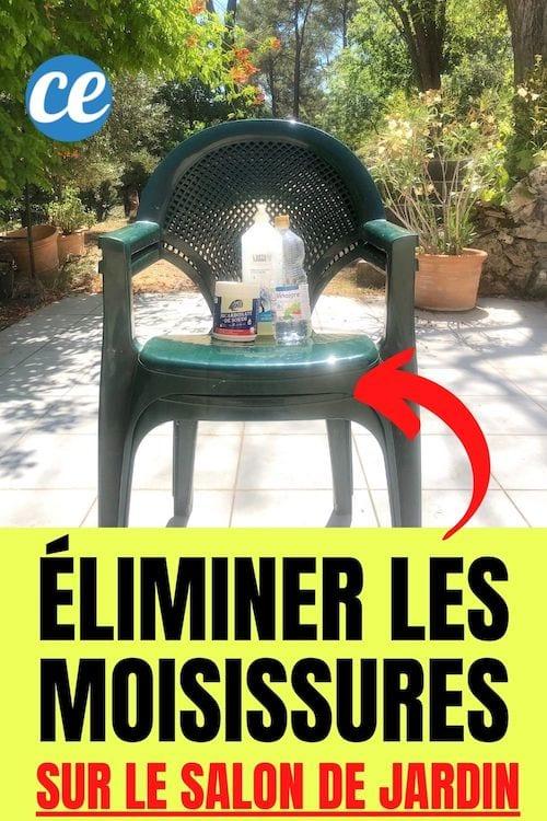 des chaises de jardin en PVC vert propres avec du vinaigre blanc, du bicarbonate de soude et du liquide vaisselle