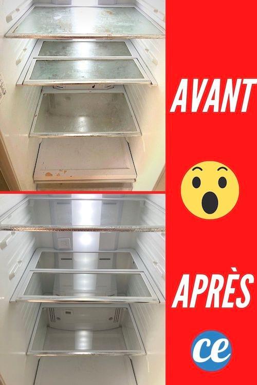 Un frigo très sale avant et super propre après grâce à 3 astuces de grand-mère
