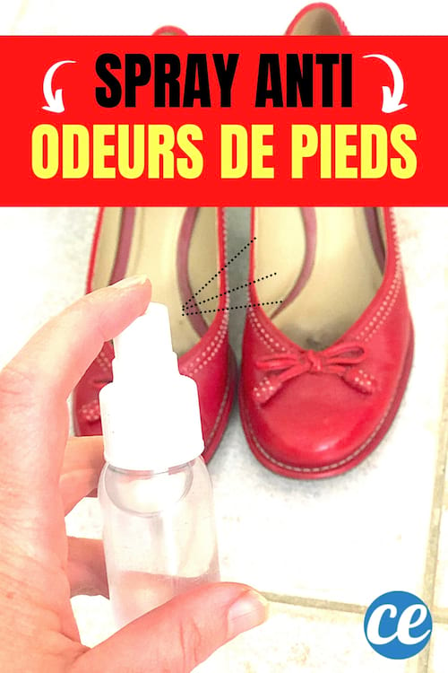 Un spray pour éliminer les mauvaises odeurs de pieds sur des chaussures rouges