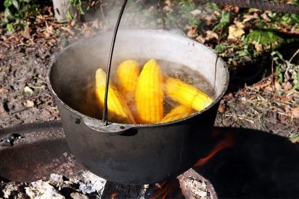 épi de maïs qui cuit dans marmite d'eau