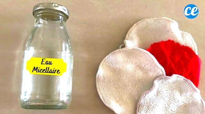 Une eau micellaire maison dans un flacon pour nettoyer la peau au naturel