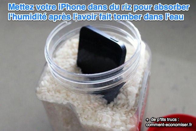 Si votre iPhone est tombé dans l'eau, mettez-le dans du riz