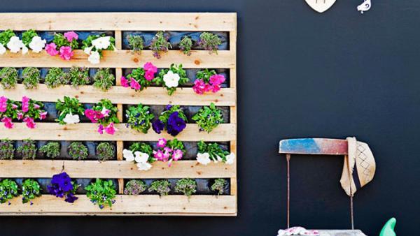 plantez des fleurs dans les palettes et accrochez les au mur