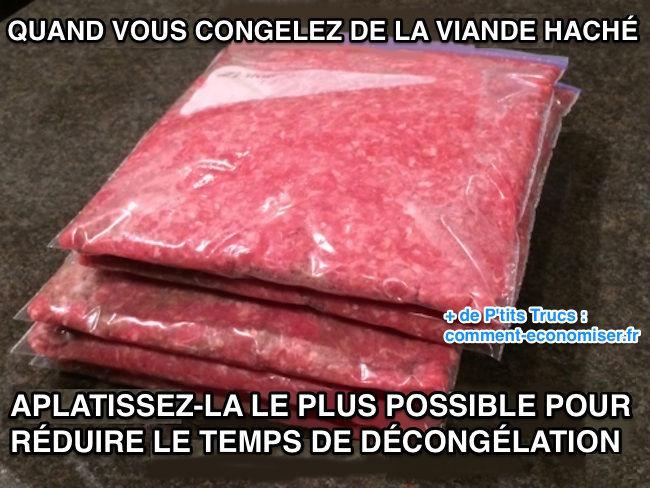 Astuce pour décongeler la viande hachée plus rapidement