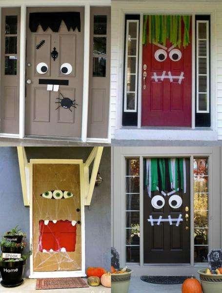 des portes décorées en monstre