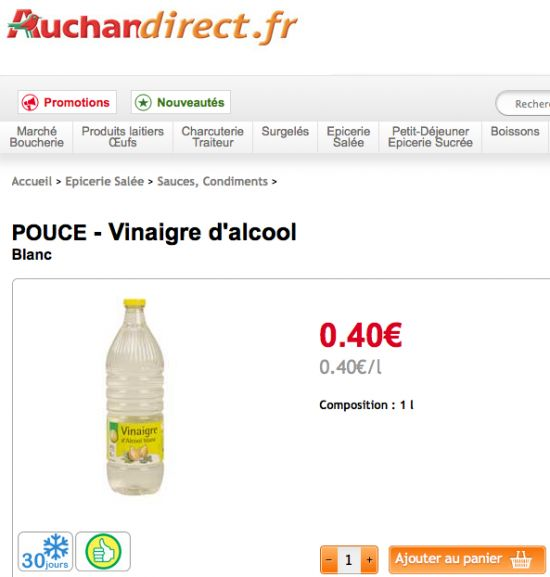 prix du vinaigre blanc notre comparatif par supermarch. Black Bedroom Furniture Sets. Home Design Ideas