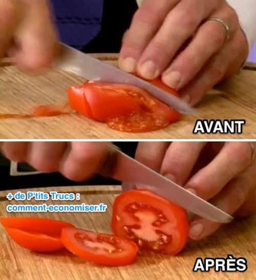 Couper une tomate avec un couteau bien aiguisé