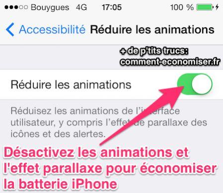 Désactivez les animations et l'effet parallaxe pour économiser de la batterie