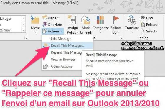 Voici comment annuler l 39 envoi d 39 un e mail sur outlook - Comment recuperer sa corbeille sur le bureau ...