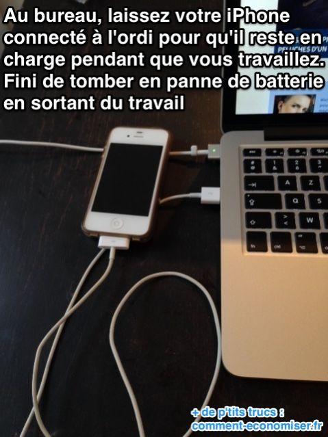 Laissez votre iphone connecté à votre ordi pour économiser de la batterie