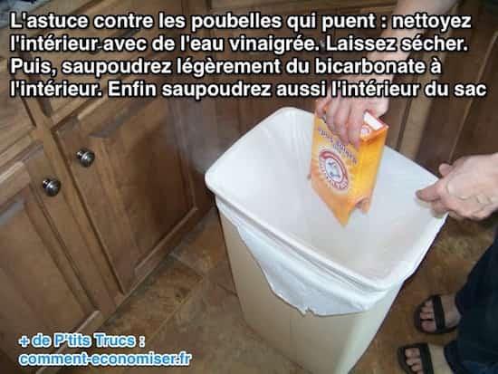Nettoyer la poubelle avec du bicarbonate