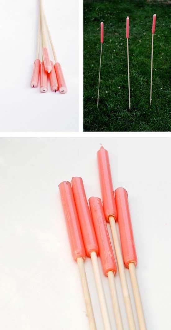 Pour faire de la lumière, utilisez des bougies à piquets.