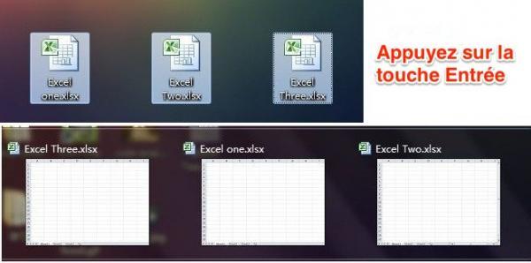 Sélectionnez tous les fichiers et appuyez sur Entree pour ouvrir plusieurs fichiers excel en meme temps