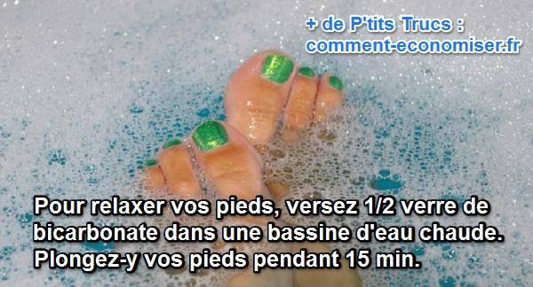 bain de pieds au bicarbonate pour se relaxer