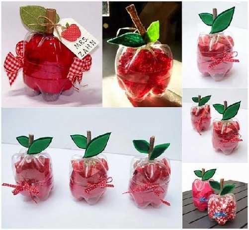 fabriquer une boite en forme pomme avec bouteille recyclée