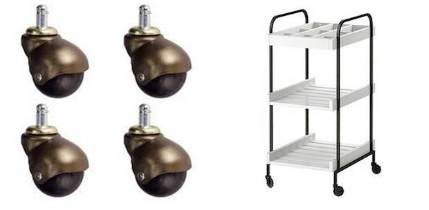 remplacez les roulettes en plastique par des roulettes chromes - Table A Roulette Ikea