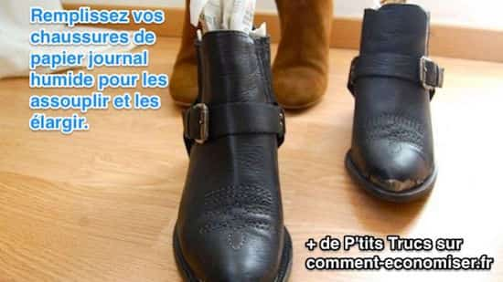 Mettre du journal humide dans les chaussures en cuir pour les assouplir