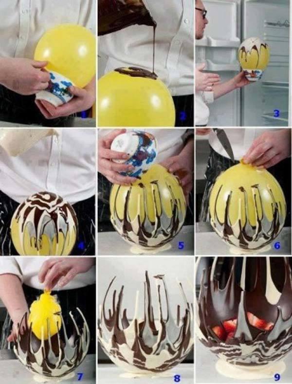 faire un délicieux bol de chocolat avec un ballon et du chocolat fondu