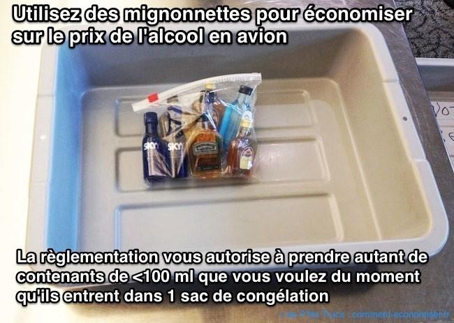 Utilisez des mignonnettes pour économiser sur le prix de l'alcool en avion