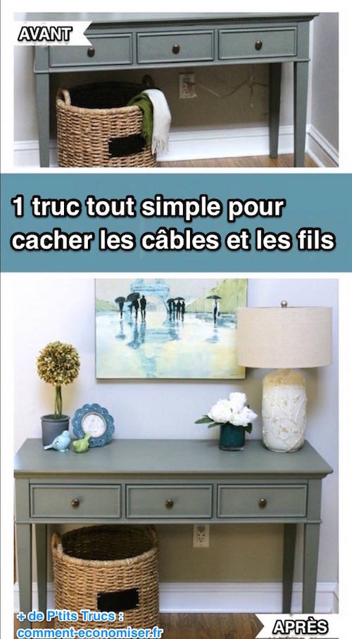 1 truc tout simple pour cacher les fils et les c bles. Black Bedroom Furniture Sets. Home Design Ideas