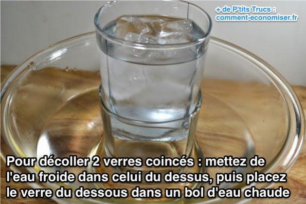 mettez de l'eau froide dans celui du dessus, puis placez le verre du dessous dans un bol d'eau chaude