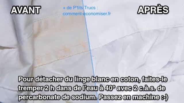 Le produit miraculeux pour d tacher le linge blanc for Utilisation du vinaigre blanc pour le linge