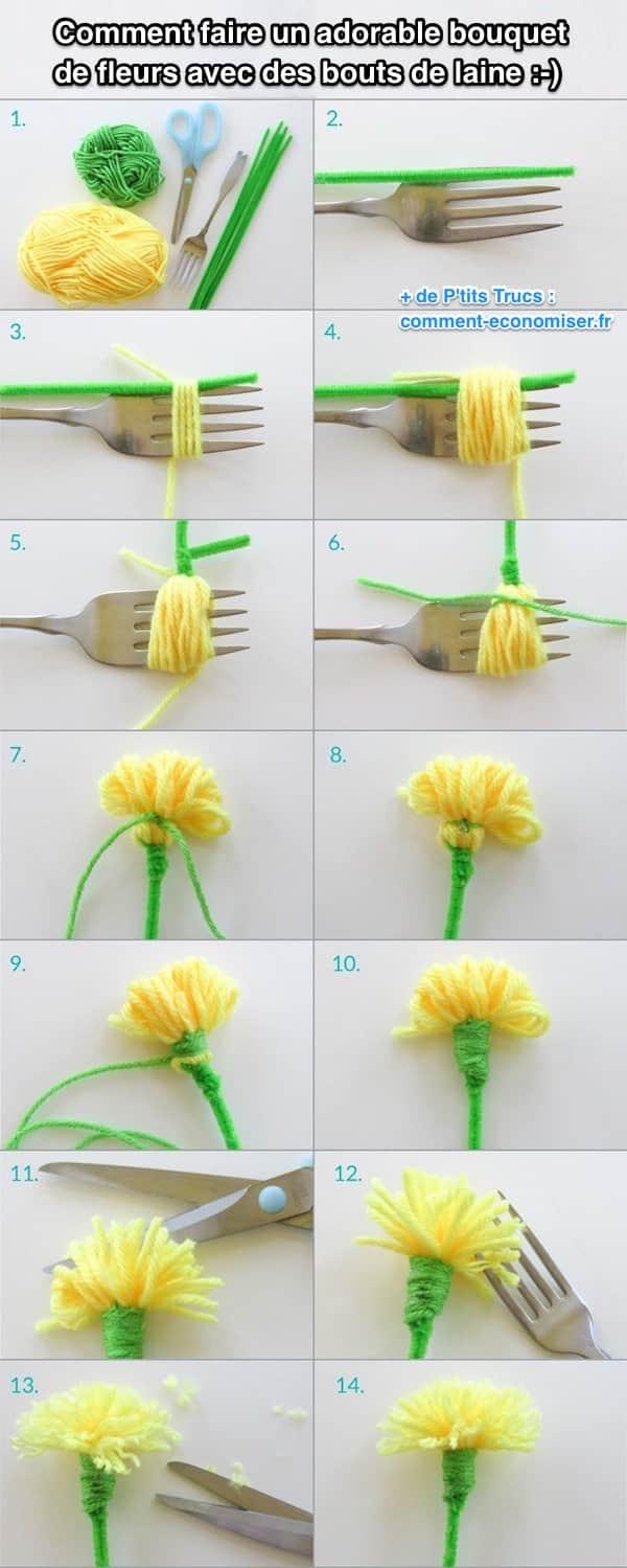 Comment faire un adorable bouquet de fleurs avec des bouts de laine - Faire un pompon avec fourchette ...