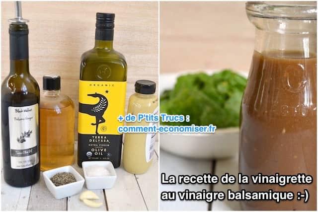 ingrédient pour une sauce salade au vinaigre balsamique