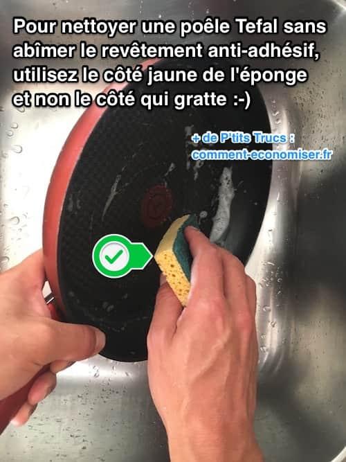 Comment nettoyer une po le tefal sans ab mer le r vetement for Comment nettoyer le cuivre jaune