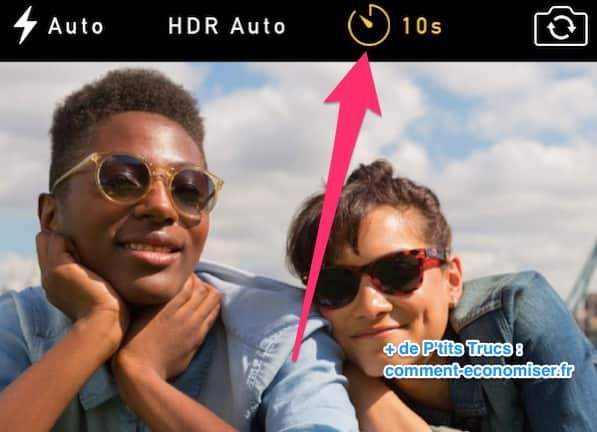 Utilisez le mode retardateur sur iPhone pour prendre photo de groupe