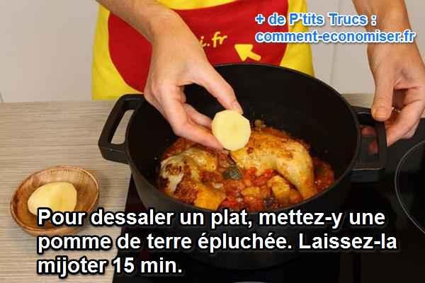 Le truc magique pour rattraper un plat trop sal - Comment dessaler un plat cuisine ...