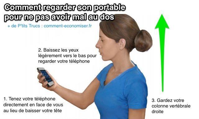 Eviter d'avoir mal au dos en regardant son téléphone